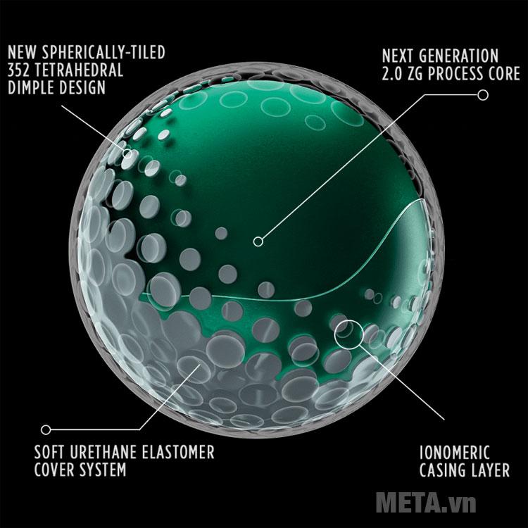 Bóng golf Titleist Pro được thiết kế đến 352 vết lõm