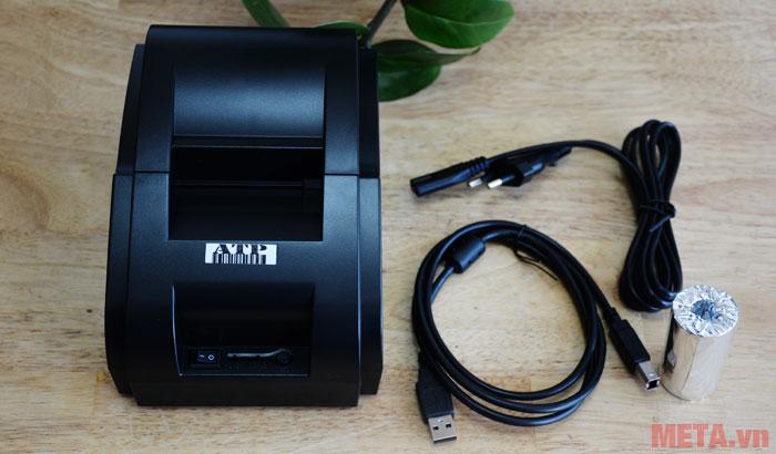 Trọn bộ sản phẩm với dây kết nối và giấy in