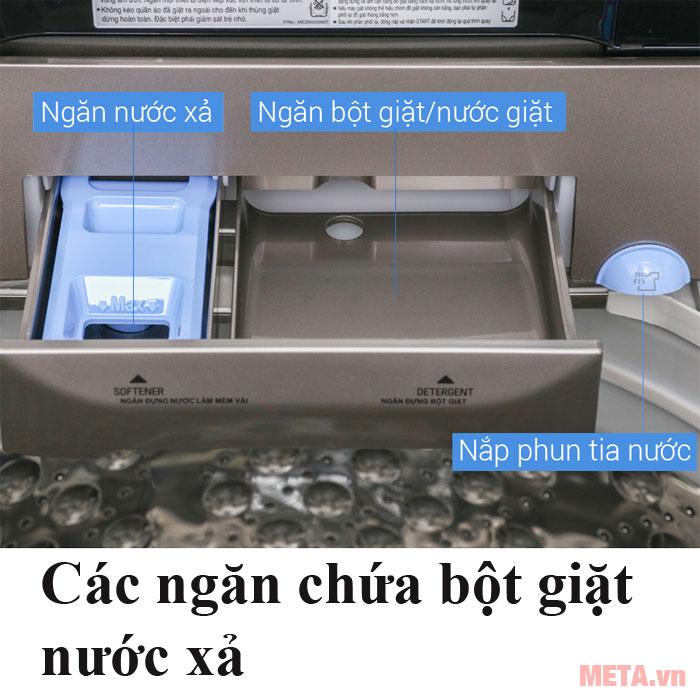 Máy giặt LG có các ngăn chứa bột giặt
