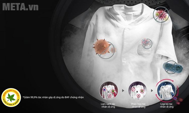 Máy giặt LG được trang bị công nghệ giặt hơi nước kháng khuẩn