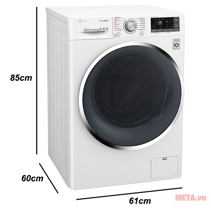 Kích thước của áy giặt cửa trước LG FC1485S2W
