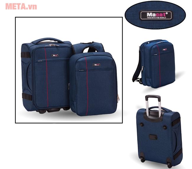Bộ vali balo laptop Macat V8T 18 inch màu xanh
