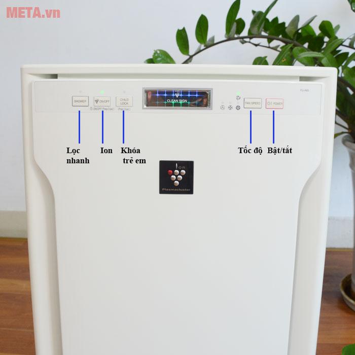 Máy lọc không khí Sharp FU-A80EA-W có bảng điều khiển phía trước Máy lọc không khí Sharp FU-A80EA-W giúp tiết kiệm điện năng hiệu quả
