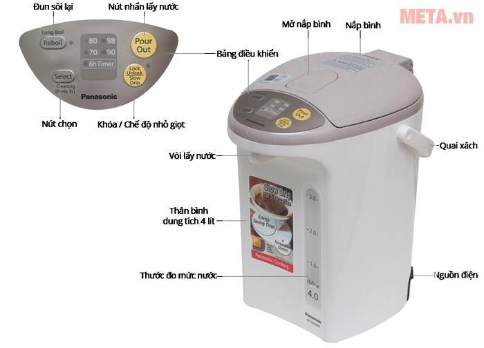 Bình thủy điện Panasonic NC-EG4000CSY có thiết kế nhỏ gọn hiện đại nhiều chức năng.