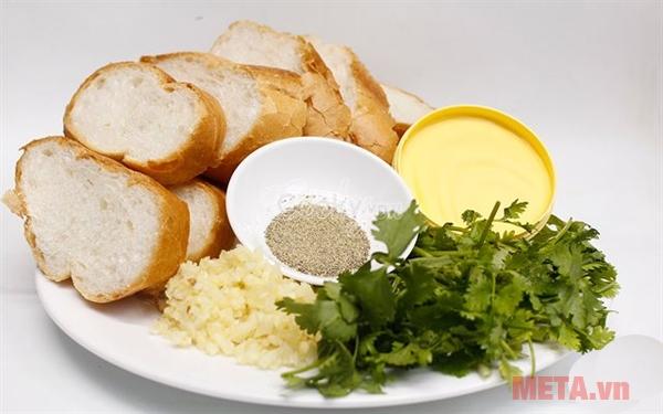 Nguyên liệu cho món bánh mỳ nướng bơ tỏi
