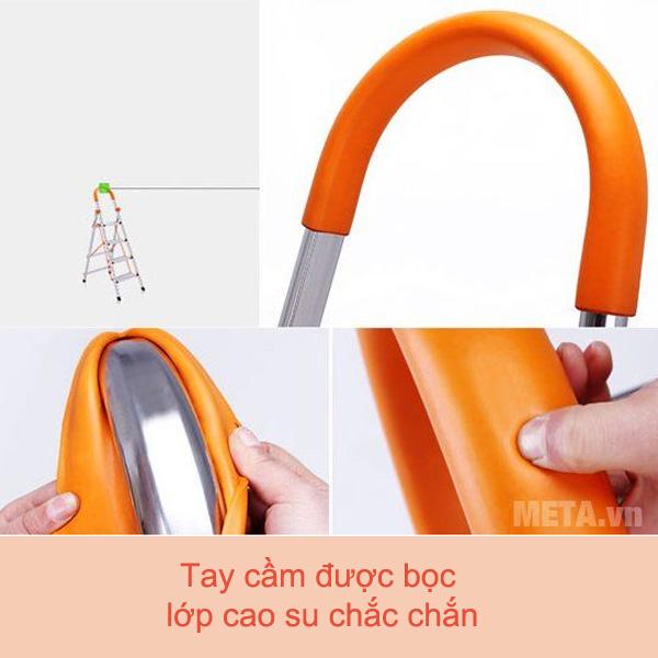 Thang ghế inox 5 bậc Nikita NKT-IN05 thiết kế tay vịn bọc nhựa mềm dẻo