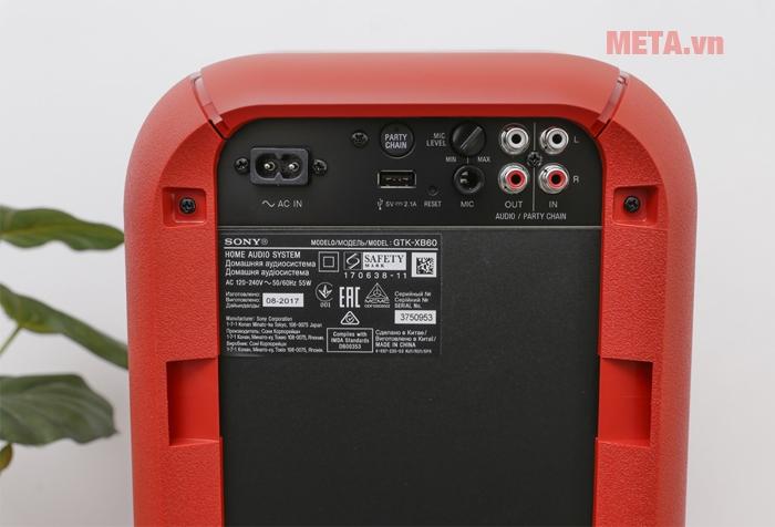 Các ngõ vào của loa Hifi Sony GTK-XB60