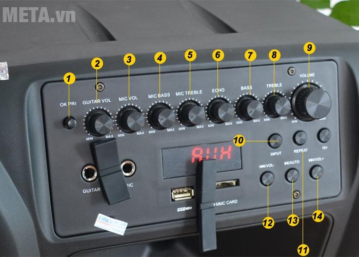 Các nút chức năng điều chỉnh phía trước loa