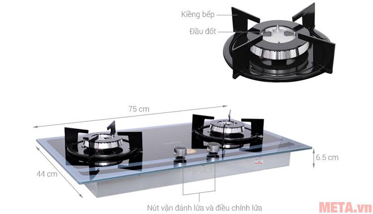Cấu tạo các chi tiết của bếp gas âm Sanko SH 728 BG