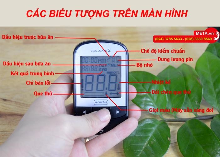 Các biểu tượng trên màn hình máy đo đường huyết