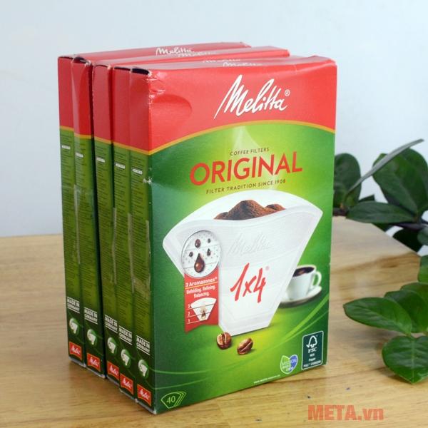 Bộ giấy lọc Melitta với 40 miếng/hộp được ứng dụng công nghệ sản xuất của Đức