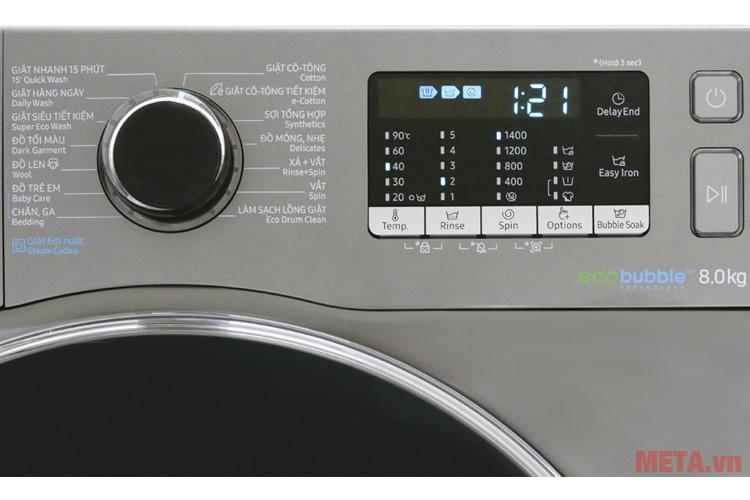 Máy giặt Samsung WW80J54E0BX/SV (8kg) được trang bị 14 chương trình giặt