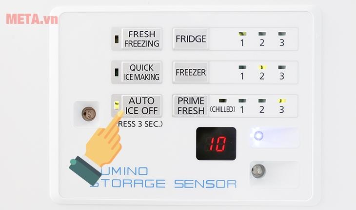 """Ấn và giữ nút """"Auto Ice Off"""" khoảng 3 giây để bật / tắt chết độ làm đá tự động"""
