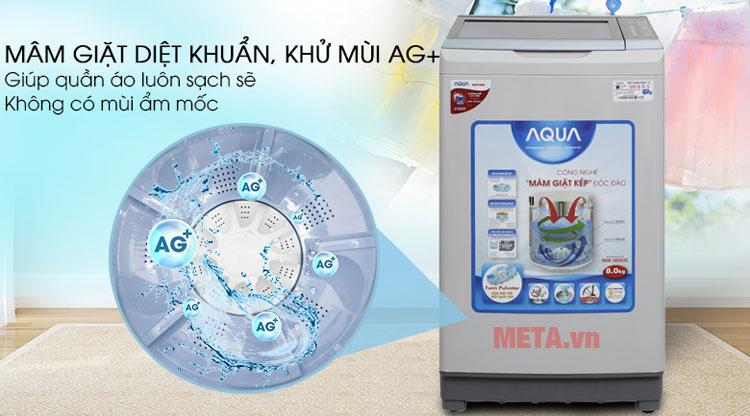 Sử dụng máy giặt Aqua AQW-W80AT giúp quần áo luôn sạch khuẩn.