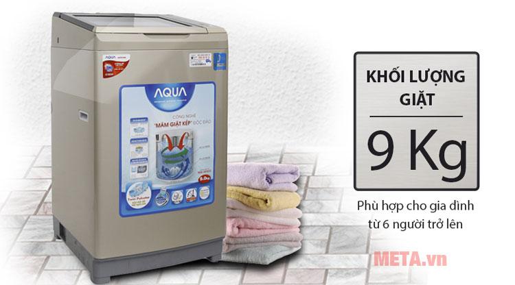 Máy có khối lượng giặt 9kg phù hợp với gia đình có nhu cầu giặt cao