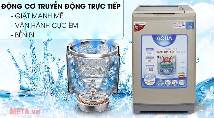 Máy giặt lồng đứng Aqua Inverter AQW-DW90AT sử dụng động cơ truyền động trực tiếp