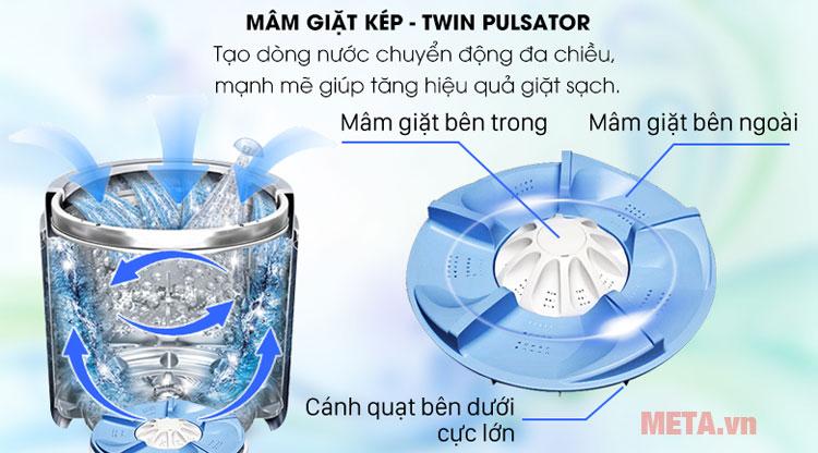 Hình ảnh mâm giặt kép Twin pulsator