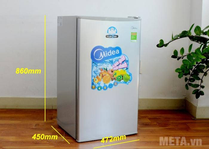 Kích thước tủ lạnh mini 98 lít Midea HS-122SN