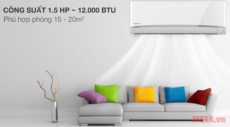 Điều hòa Panasonic 1.5 HP CU/CS-YZ12UKH-8 phù hợp sử dụng cho phòng 15 - 20m2