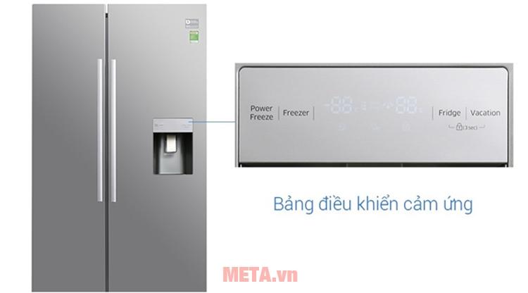 Tủ lạnh side by side Samsung điều khiển bên ngoài