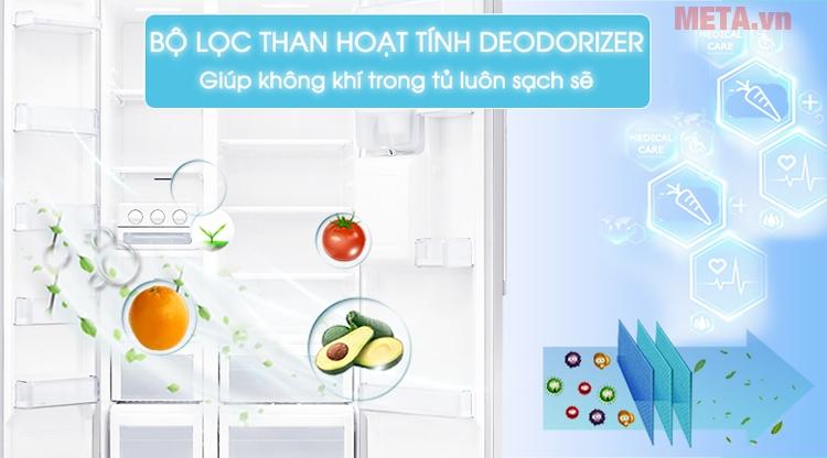 Tủ lạnh Samsung RS52N3303SL/SV với bộ lọc than hoạt tính Deodorizer