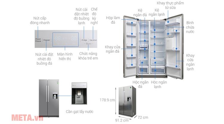 Cấu tạo tủ lạnh Samsung RS52N3303SL/SV