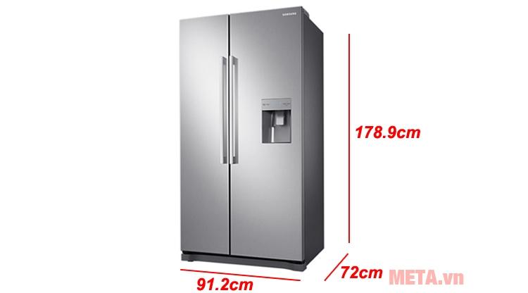 Kích thước tủ lạnh Samsung RS52N3303SL/SV