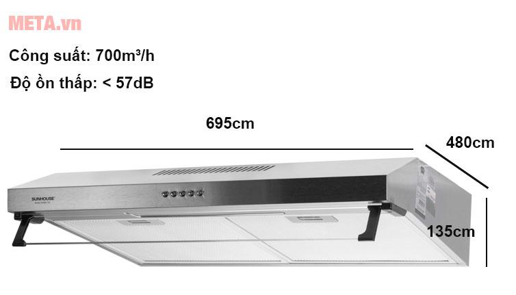 Máy hút mùi vỏ Inox Sunhouse SHB6118I có thiết kế cao cấp ac