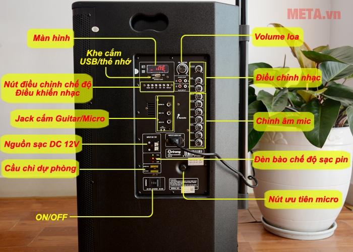 Các nút chức năng của loa karaoke di động Arirang MK-36