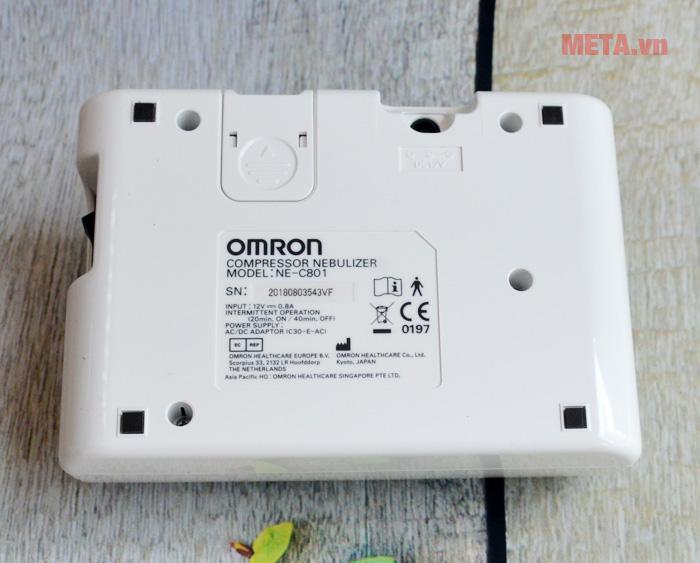 Máy xông mũi họng Omron NE-C801 với bảng thông số bên dưới máy