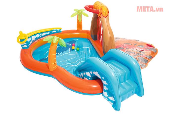 Bể bơi kết hợp cầu trượt cho bé chơi cả 2 trò