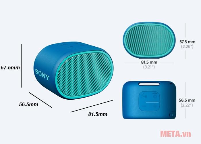 Kích thước loa bluetooth Sony ExtraBass XB01