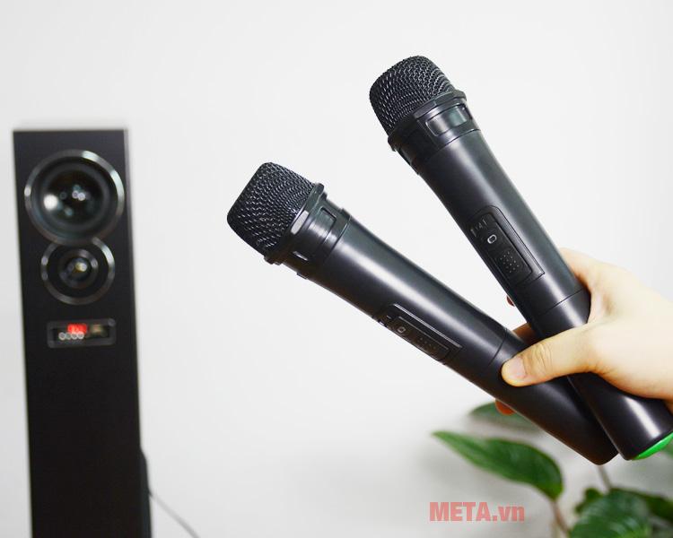 Loa karaoke có 2 micro không dây