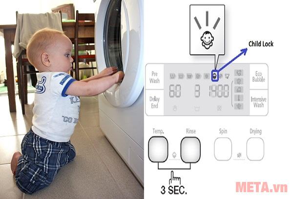 Nên dùng máy giặt có chế độ giặt quần áo trẻ em