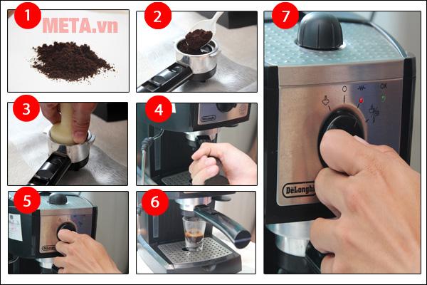 Các bước máy pha cà phê bán tự động