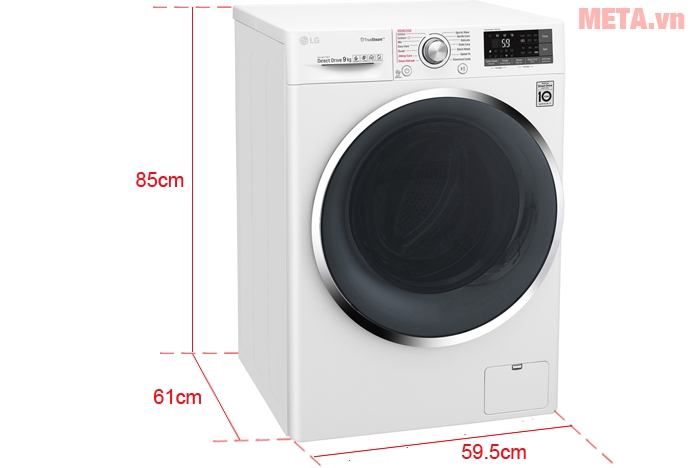 Kích thước máy giặt LG 9kg FC1409S2W