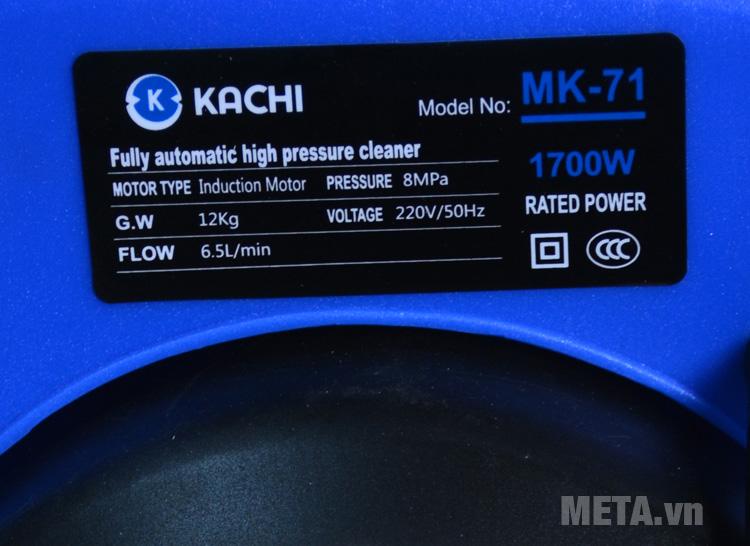 Thông số máy rửa xe