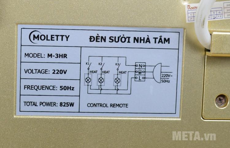 Đèn sưởi nhà tắm 220V