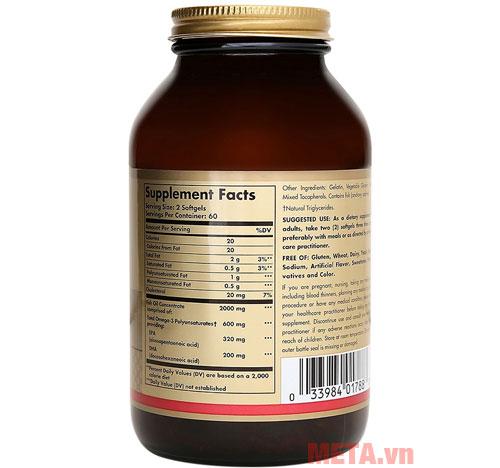 Solgar Omega 3 Fish Oil Concentrate phù hợp với người lớn