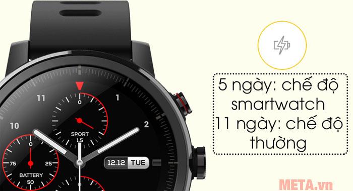 Thời lượng pin của đồng hồ tới 11 ngày ở chế độ thường