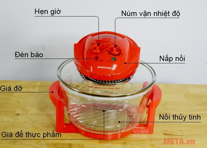 Cấu tạo lò nướng thủy tinh Sunhouse SH416