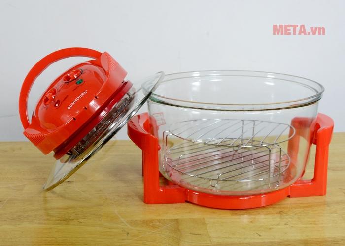 Lò nướng thủy tinh Sunhouse SH416 giúp nướng thực phẩm nhanh chóng