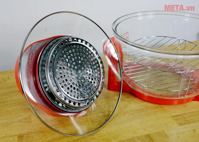 Lò nướng thủy tinh Sunhouse SH416 sử dụng đèn halogen làm nóng