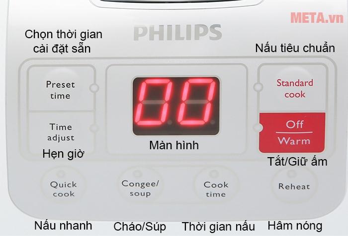 Bảng điều khiển nồi cơm điện tử Philips HD3030 với nhiều chức năng