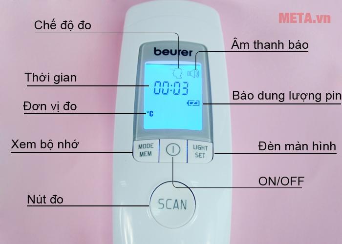 Các nút ấn trên nhiệt kế điện tử đo trán Beurer FT90