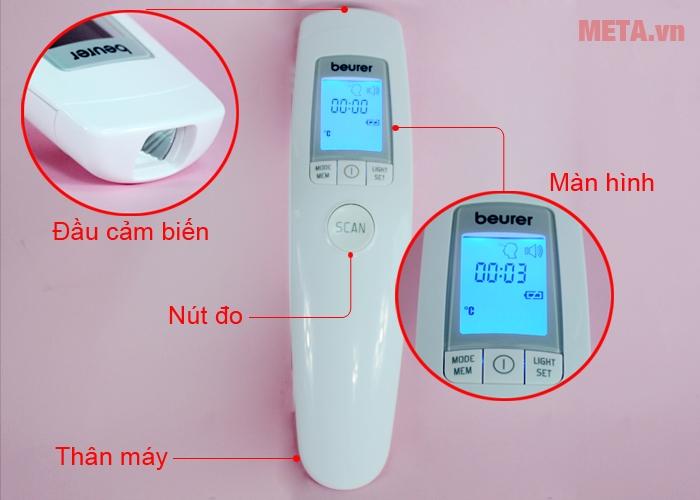 Cấu tạo nhiệt kế điện tử đo trán Beurer FT90