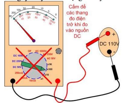 Trường hợp để nhầm thang đo điện trở khi đo điện áp DC => đồng hồ sẽ bị hỏng các điện trở bên trong!