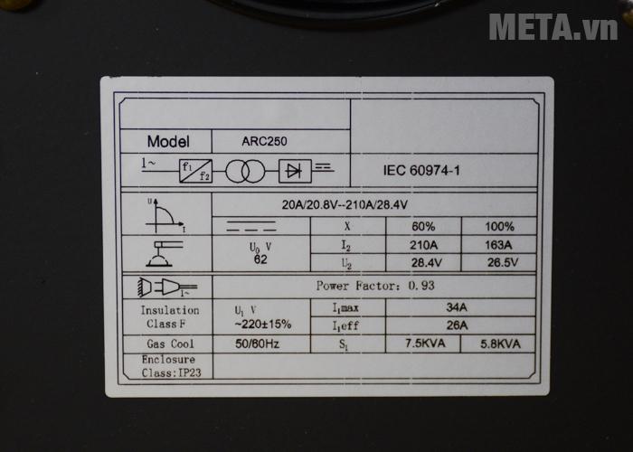 Thông số kỹ thuật máy hàn que Jasic ARC-250 (R112)