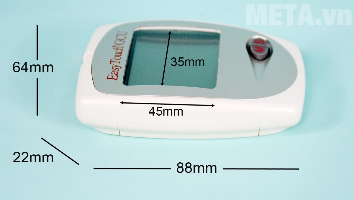 Kích thước máy đo đường huyết Rossmax Easy Touch GCU ET322