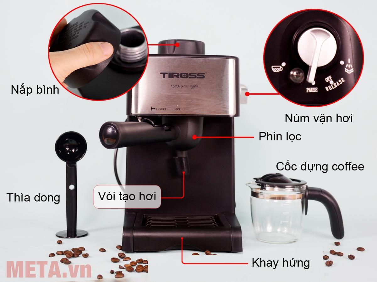Cấu tạo máy pha cà phê Espresso Tiross TS621